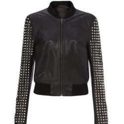 """<b>French Connection</b> Let It Be Rock Jacket, <a href=""""http://usa.frenchconnection.com/product/Woman+Collections/75BD8/Let+It+Be+Rock+Jacket.htm"""">$468</a>"""