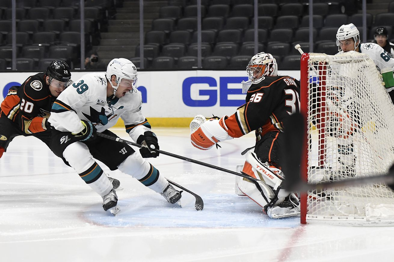 Logan Couture #39 of the San Jose Sharks scores a goal against goalkeeper John Gibson #36 of the Anaheim Ducks during the third period at Honda Center on February 5, 2021 in Anaheim, California.