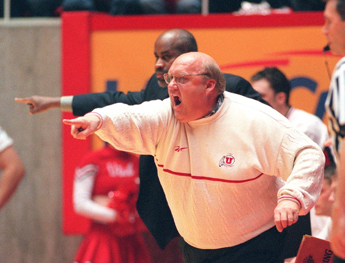 Utah coch Rick Majerus shouts out plays during the game against New Mexico Saturday, Feb 28, 1998. PHOTO BY GARY M. MCKELLAR