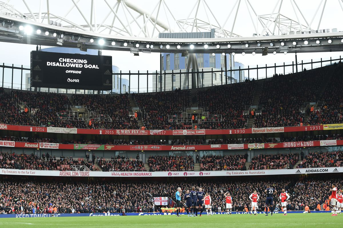 General view inside the stadium as a VAR review takes place over a goal from Alexandre Lacazette of Arsenal which was disallowed for offside during the Premier League match between Arsenal FC and West Ham United at Emirates Stadium on March 07, 2020 in London, United Kingdom.