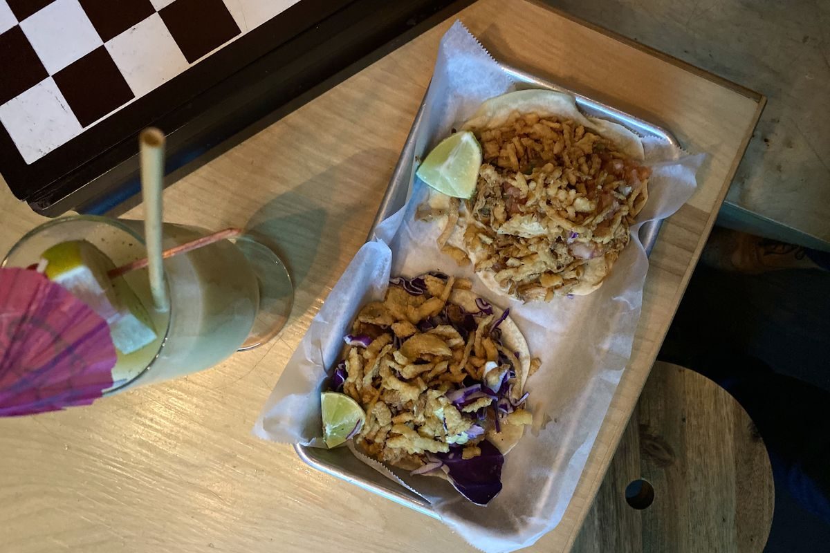 Chicken adobo and spam tacos at Swell Dive