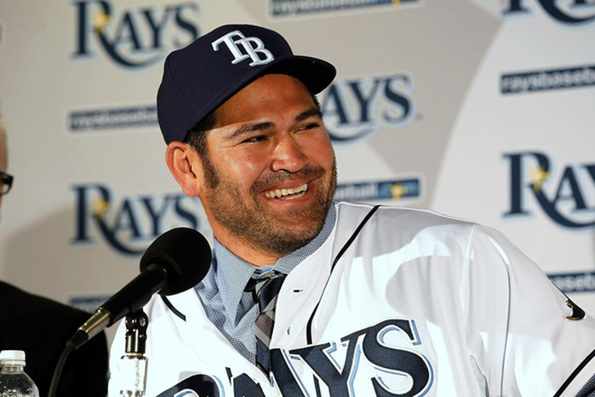 ST PETERSBURG FL - FEBRUARY 01:  Johnny Damon #22 of the Tampa Bay Rays talks with reports during a press conference at Tropicana Field on February 1 2011 in St. Petersburg Florida.  (Photo by J. Meric/Getty Images)