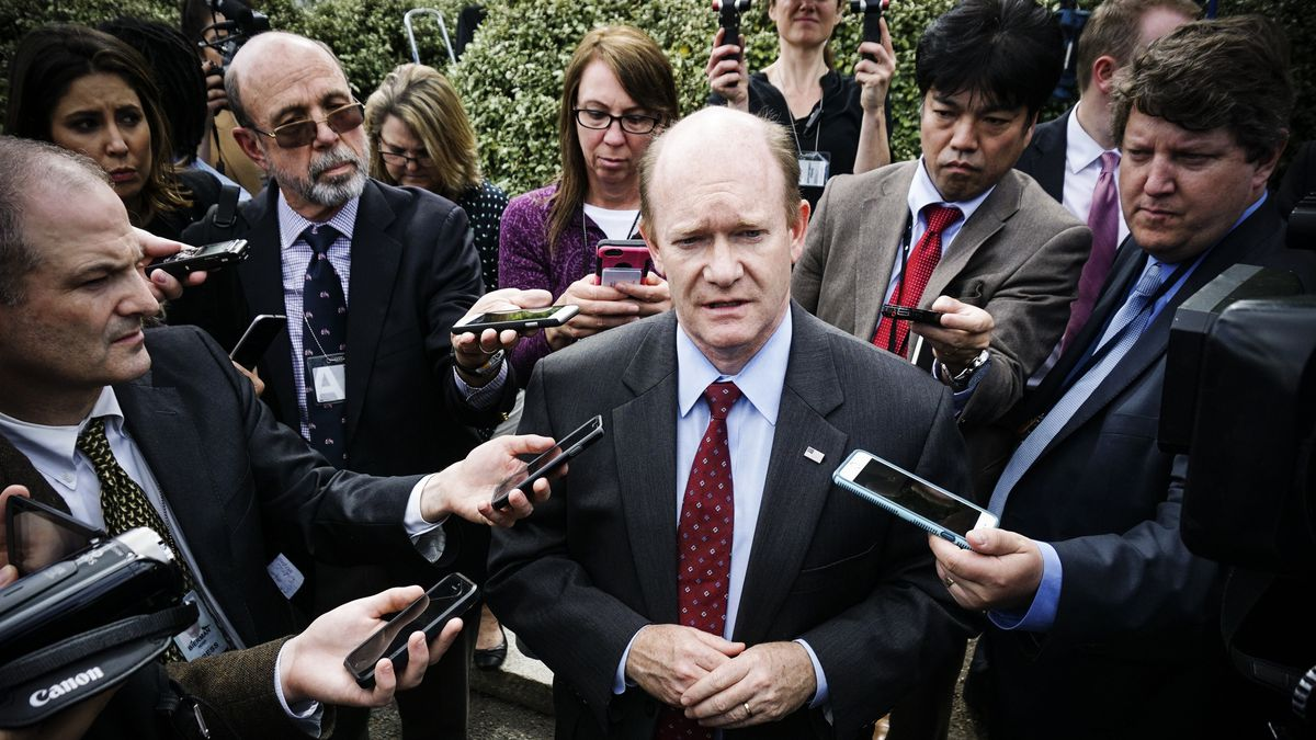 Sen. Chris Coons (D-DE), speaks to reporters after a briefing for US senators on the situation in North Korea, on April 26, 2017.