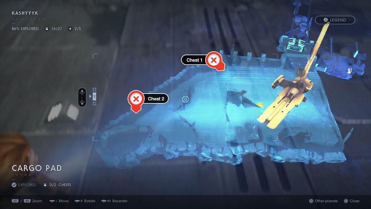 Star Wars Jedi: Fallen Order Kashyyyk Cargo Pad chest locations map