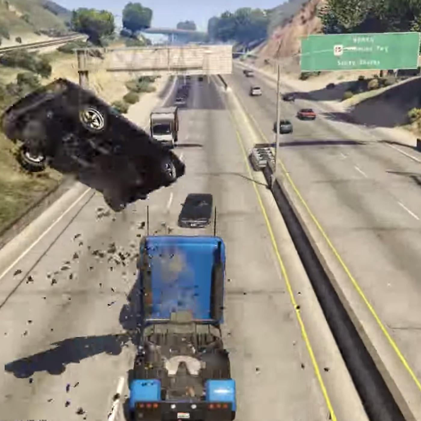 Semi truck + massive ramp = Grand Theft Auto 5's most