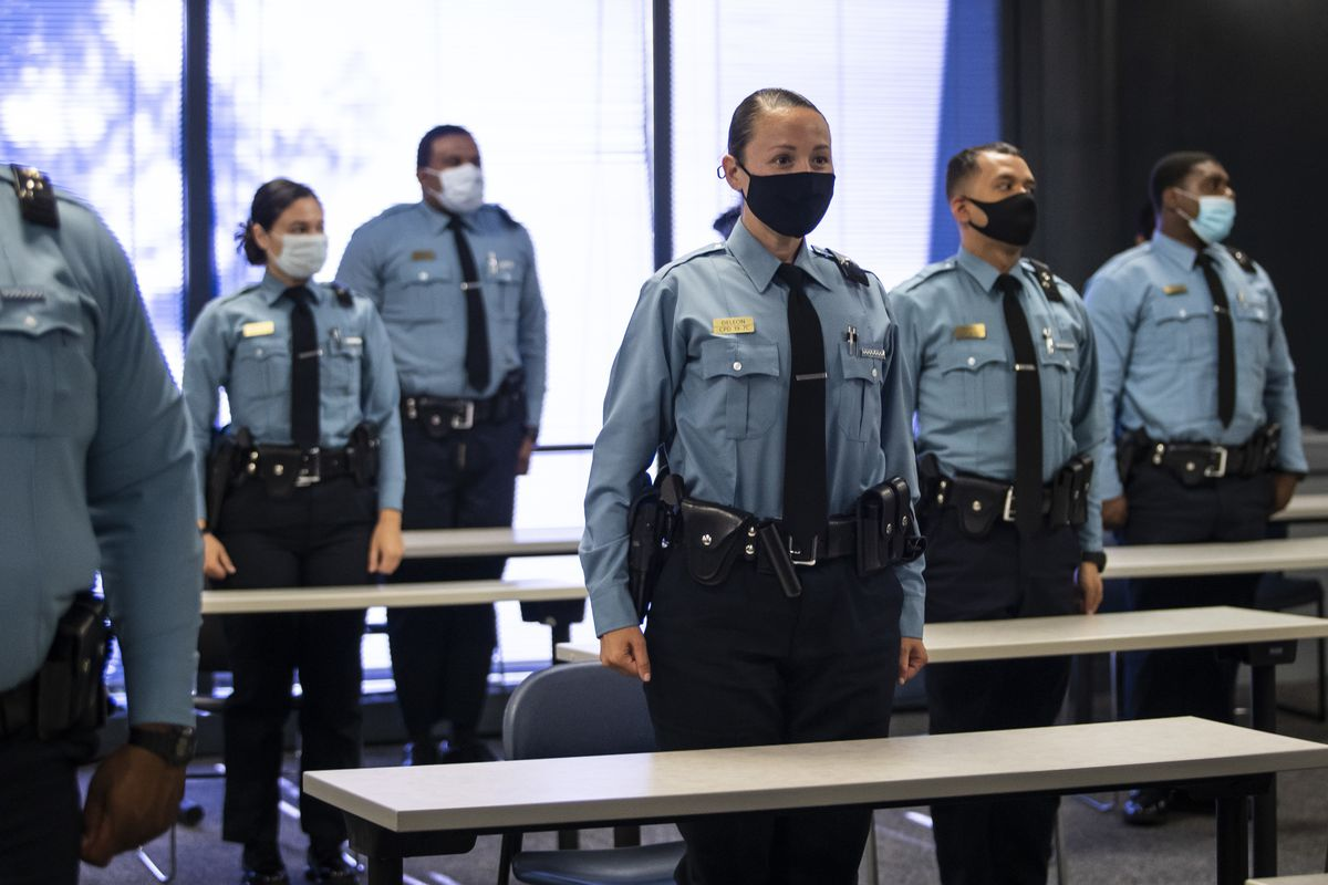 Chicago Police Supt. David Brown welcomes recruits back as training resumes with social distancing precautions in place in July 2020.