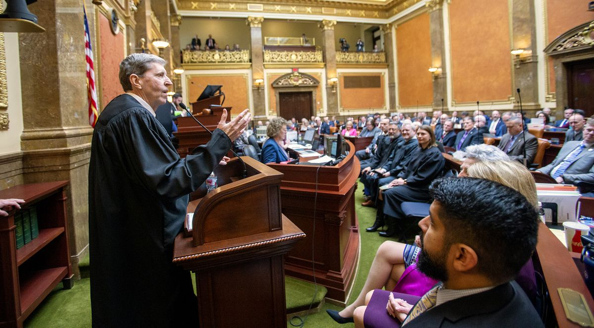 Utah Supreme Court Chief Justice Matthew B. Durrant delivers the 2020 State of the Judiciary address to a joint meeting of the Utah House and Senate at the state Capitol in Salt Lake City on Monday, Jan. 27, 2020.