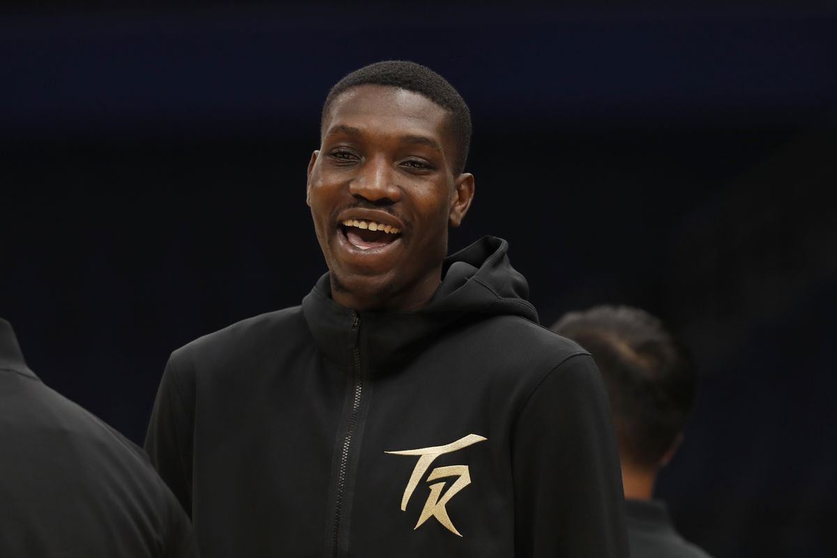 Chris Boucher #25 of the Toronto Raptors smiles before the game against the LA Clippers on May 11, 2021 at Amalie Arena in Tampa, Florida.