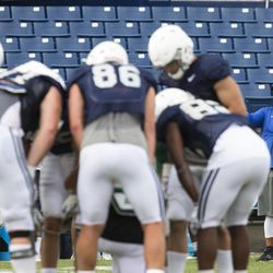 BYU defensive coordinator Ilaisa Tuiaki gives a thumbs-up to his players during a break at a BYU football practice in Provo on Thursday, August 10, 2017. Tuiaki credited a referral for pointing out new recruit Chinonso Opara to the BYU staff.