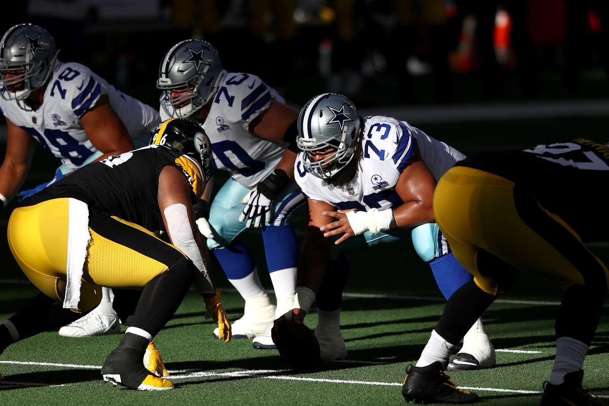 Joe Looney #73 of the Dallas Cowboys during play against the Pittsburgh Steelers at AT&T Stadium on November 08, 2020 in Arlington, Texas.