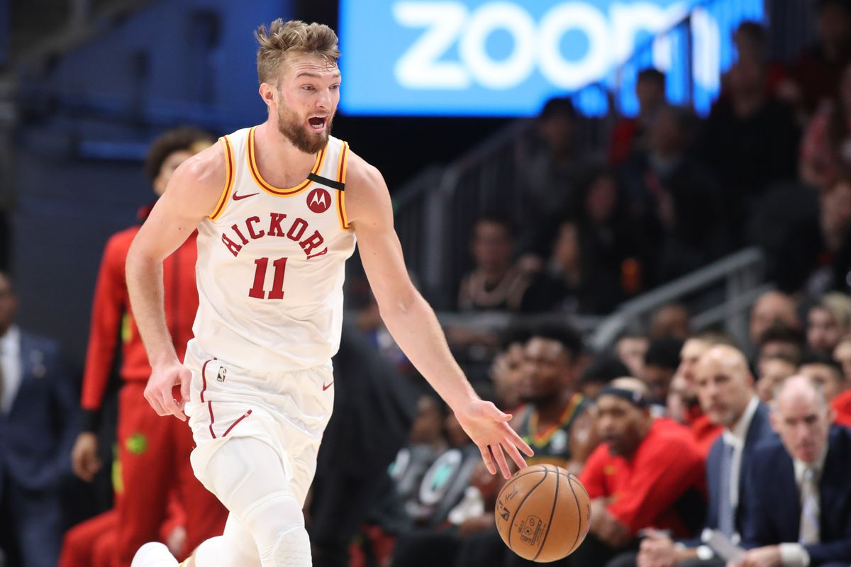Indiana Pacers forward Domantas Sabonis dribbles the ball up the court in the first half against the Atlanta Hawks at State Farm Arena.