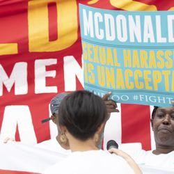 Protesters gather outside the McDonald's headquarter. | Colin Boyle/Sun-Times