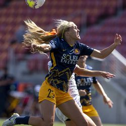 Utah Royals FC forward Brittany Ratcliffe (25) tries to get her head on the ball as the Utah Royals and Sky Blue play in the National Women's Soccer League Challenge Cup at Zions Bank stadium in Herriman on Saturday, July 4, 2020. Utah won 1-0.