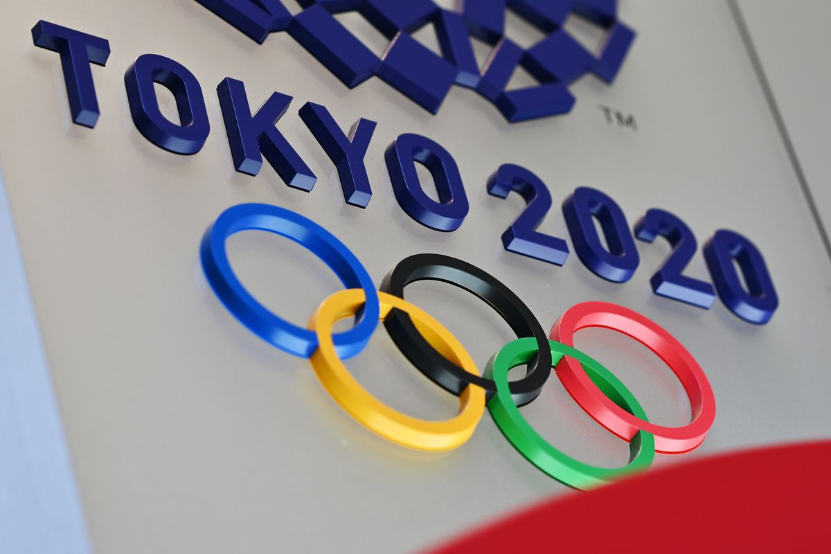 The logo for the Tokyo 2020 Olympic Games is seen in Tokyo