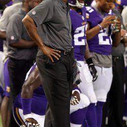 Aug 9, 2013; Minneapolis, MN, USA; Minnesota Vikings head coach Leslie Frazier looks on during the fourth quarter against the Houston Texans at the Metrodome. The Texans won 27-13.