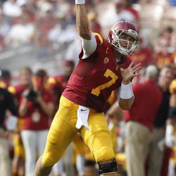 Southern California quarterback Matt Barkley throws a pass during the first half of an NCAA college football game against California in Los Angeles, Saturday, Sept. 22, 2012.