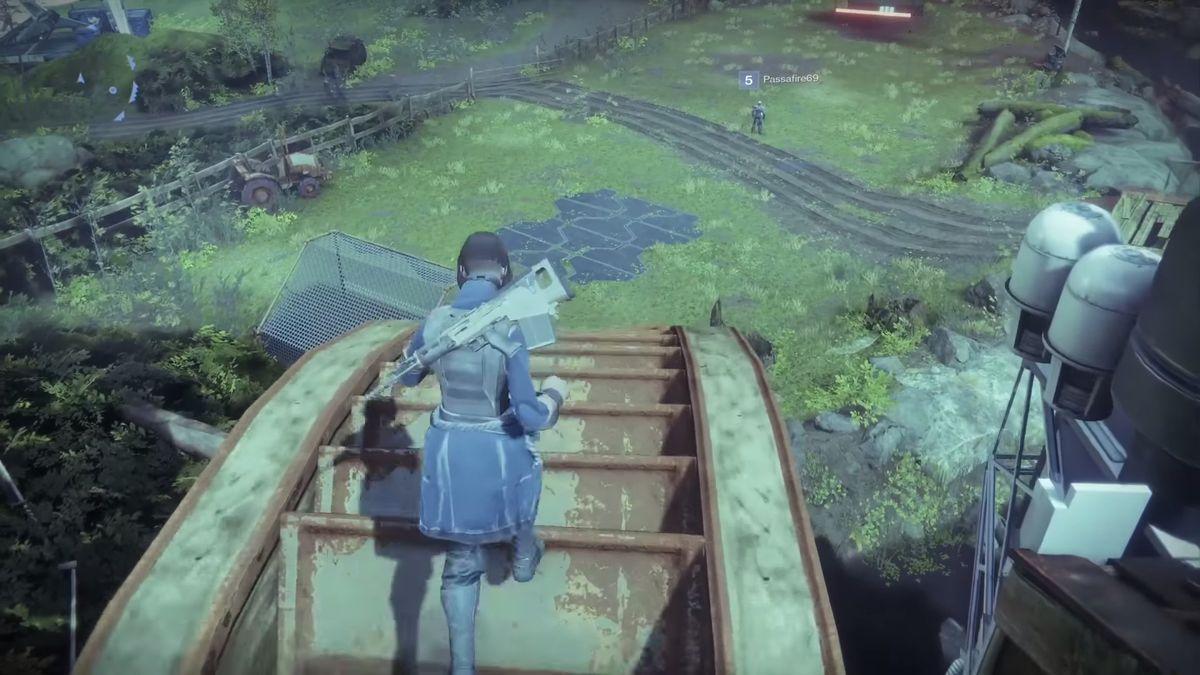 Destiny 2 - running on top of water wheel