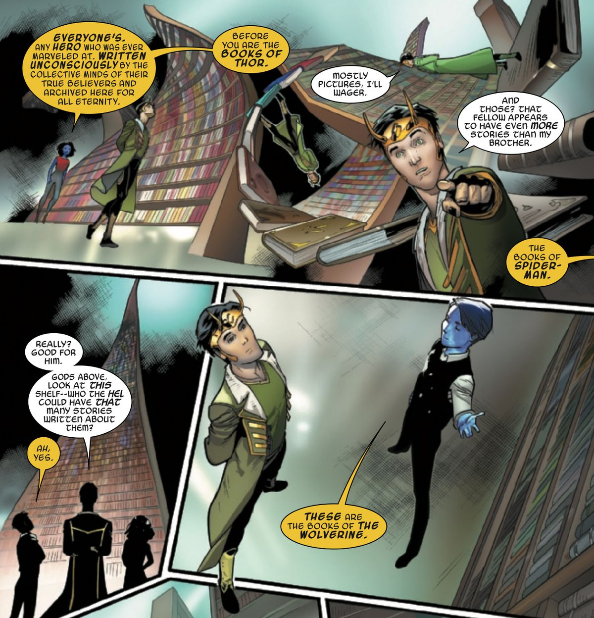 The Children of Eternity show Loki the a library of every tale in the Marvel Universe. Wolverine's shelf is very big, in Loki #3, Marvel Comics (2019).