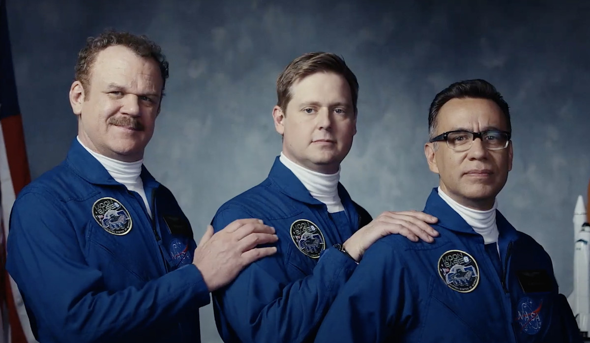 john c. reilly, tim heidecker, and fred armisen in moonbase 8