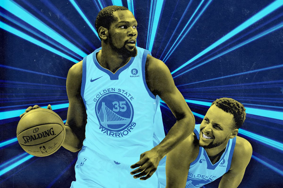 Kevin Durant dribbling the ball, with Steph Curry in the background