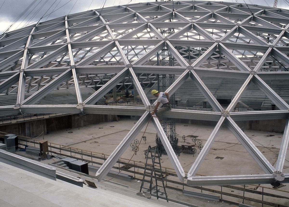 Gampel Pavilion Roof Nears Completion