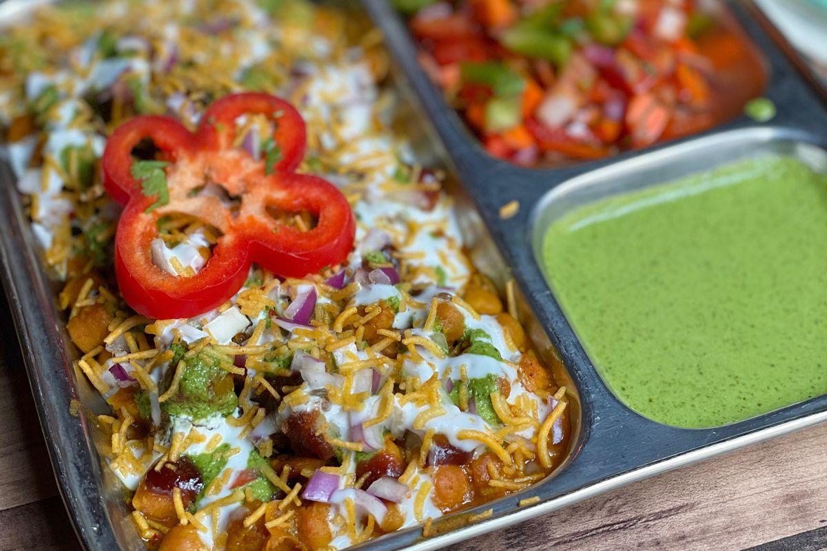 Adams Morgan's Bombay Street Food 3 debuts new dishes like aloo tiki(potato, chickpeas, and chutney).