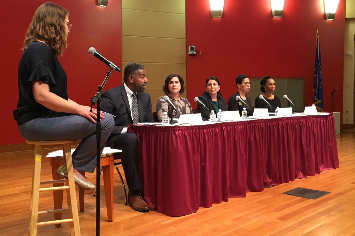 Candidates for the District 3 and District 5 seats on the Indianapolis Public Schools Board debated at a forum hosted Tuesday night by Chalkbeat, the Indianapolis Recorder, WFYI, and the Central Library.