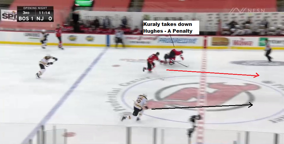 Part 9: As Kuraly takes down Hughes after the turnover (a penalty), Wood is darting ahead. Lauzon is hustling back too.