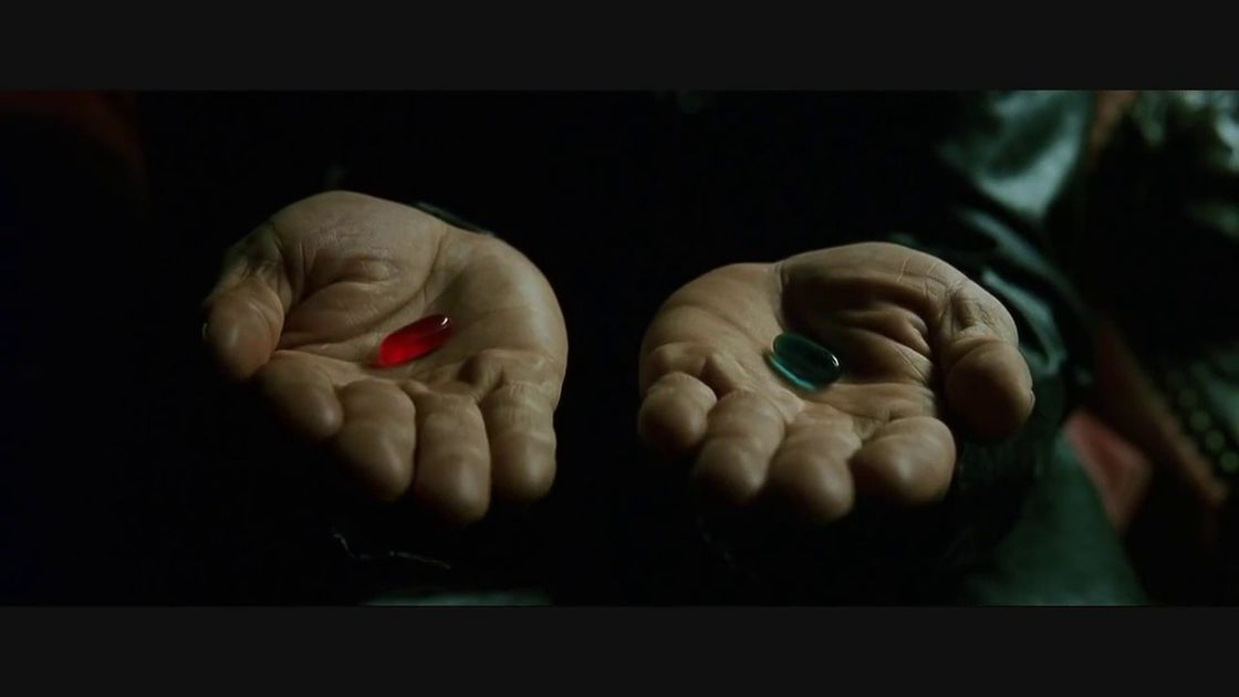 Morpheus offers Neo a choice.
