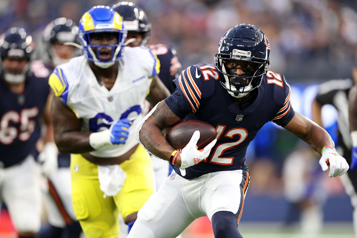 Allen Robinson #12 of the Chicago Bears runs for yards during the first half against the Los Angeles Rams at SoFi Stadium on September 12, 2021 in Inglewood, California.