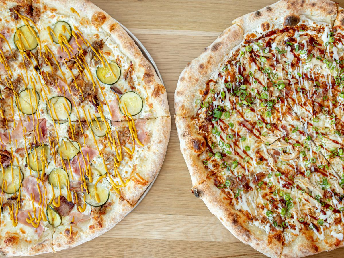 Cubano and chicken barbecue pizzas from Slice Joint