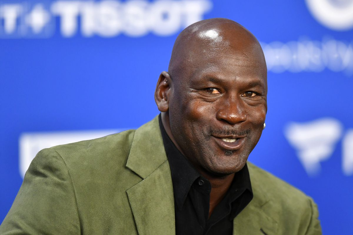 Michael Jordan attends a press conference before the NBA Paris Game match between Charlotte Hornets and Milwaukee Bucks on January 24, 2020 in Paris, France.