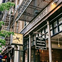 """<b>↑</b> Bite into some guilty-pleasure comfort food at <b><a href=""""http://jacobspickles.com/"""">Jacob's Pickles</a></b> (509 Amsterdam Avenue). The stars of the menu are the pickles (obviously) and Southern Biscuit sandwiches. Perfect your meal with their"""