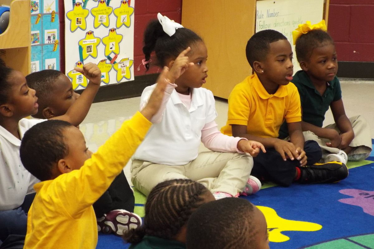 Pre-K students have reading time in a prekindergarten class at Lucie E. Campbell Elementary in Memphis.