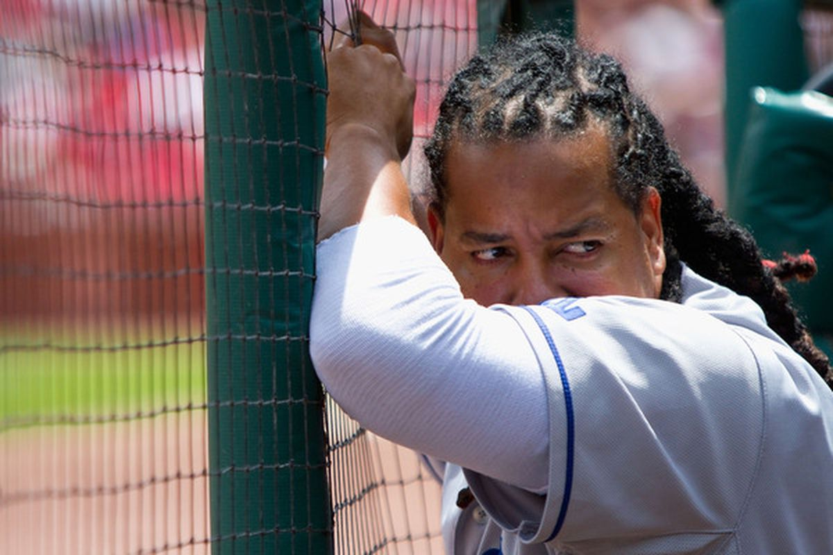 """Per Dylan Hernandez of the <a href=""""http://twitter.com/dylanohernandez/statuses/22388283463"""" target=""""new"""">LA Times</a>: """"Manny sitting because the Dodgers are preparing to deal him? 'No, no, no,' Joe Torre said. 'This is just my dumb move.'"""""""
