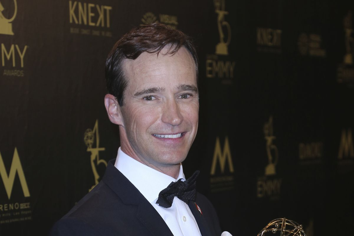 """Mike Richards poses in the press room with the award for outstanding game show for """"The Price is Right"""" at the 45th annual Daytime Emmy Awards on April 29, 2018."""