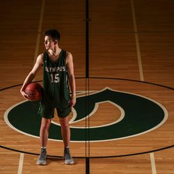 Olympus guard Rylan Jones, the 2018 Deseret News Mr. Basketball, poses for photos at Olympus High School in Holladay on Thursday, March 15, 2018.