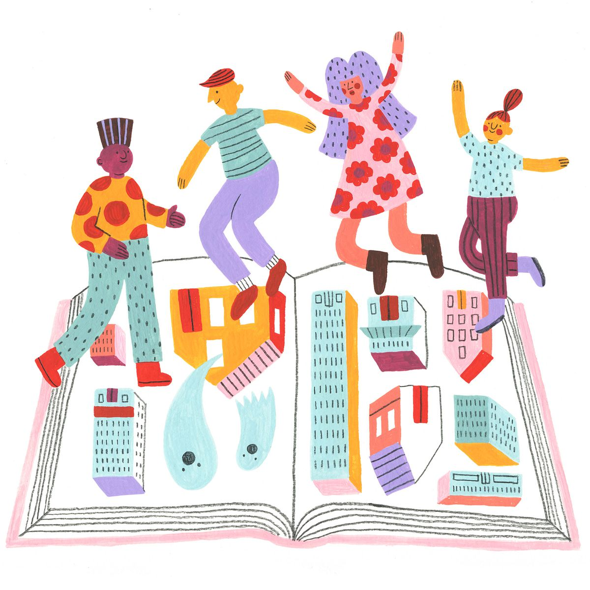 A group of people in brightly patterned clothing jump excitedly over an open illustrated tour book with an assortment of buildings and some ghosts. Illustration.