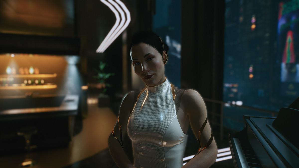 Hanako Arasaka stands in a fancy restaurant in Cyberpunk 2077