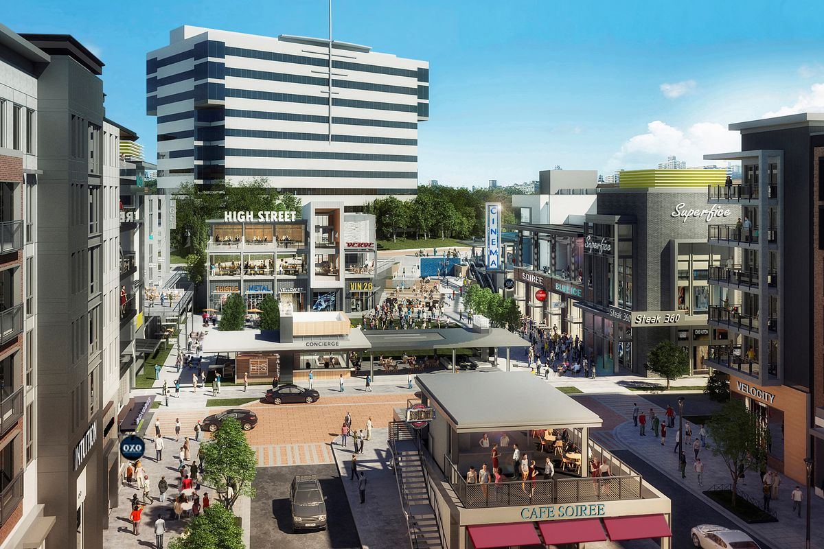Rendering of office buildings and restaurants with people moving throughout.