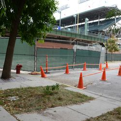 5:27 p.m. Another view of the temporary ADA curb ramps, and crosswalk, at Kenmore and Waveland -