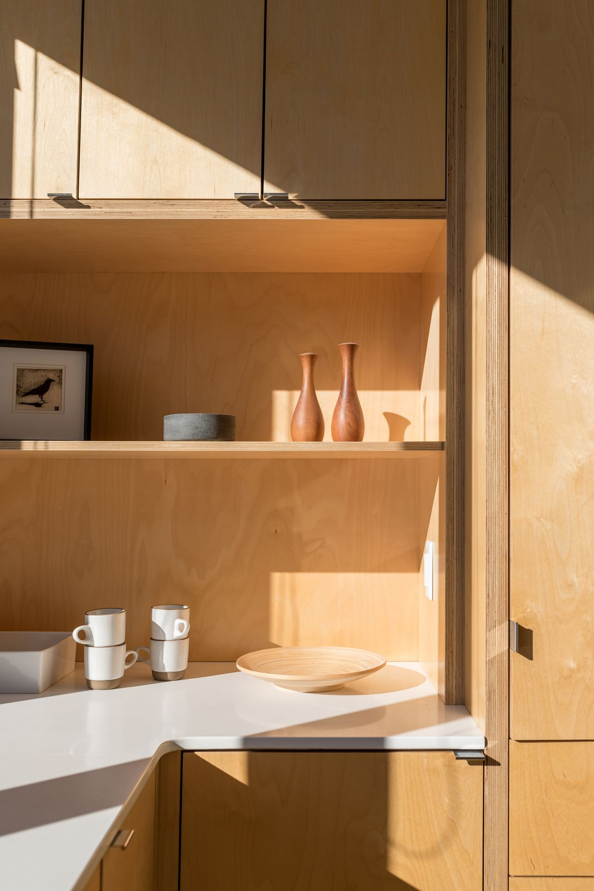 Plywood cabinetry is throughout the house, it makes up the light-wood-colored cabinetry.