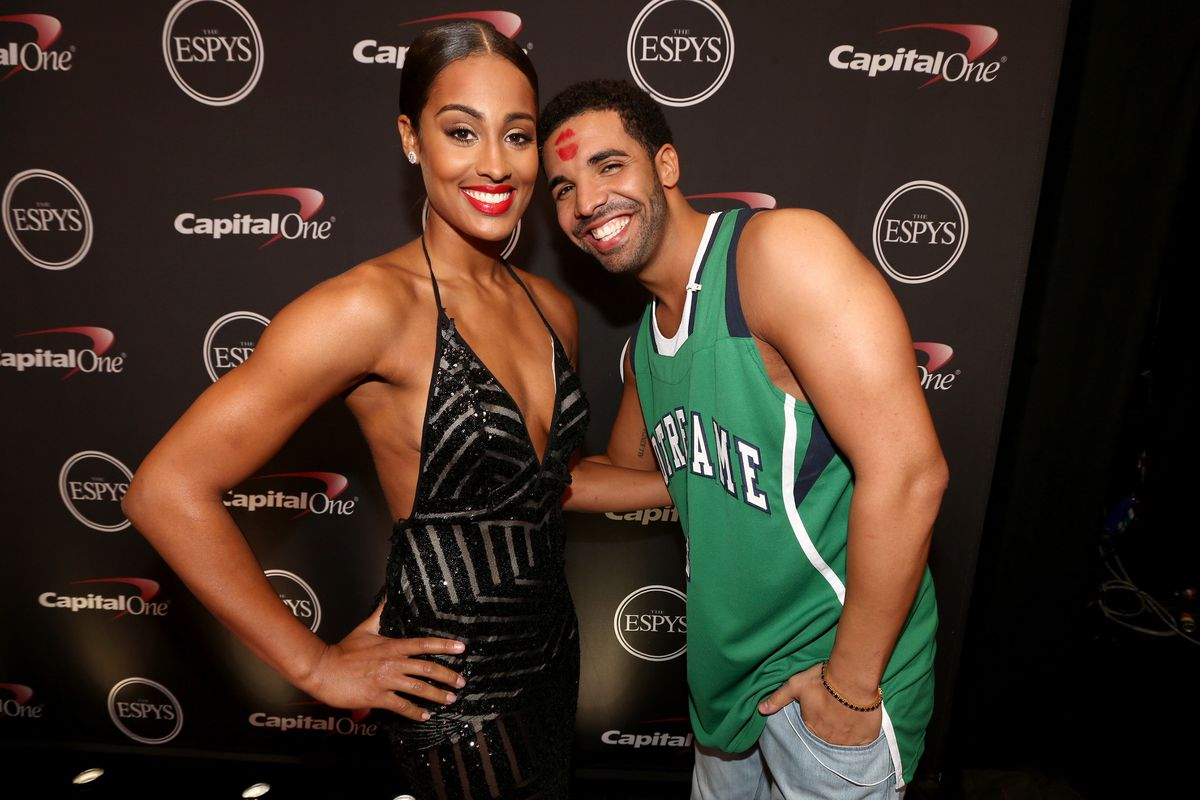 Skylar Diggins with Drake at this year's ESPY Awards. Photo: Getty Images.