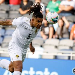 June 18, 2019 - Saint Paul, Minnesota, United States - Panama defender Roman Torres (5) heads the ball during the Panama vs Trinidad and Tobago match at Allianz Field.