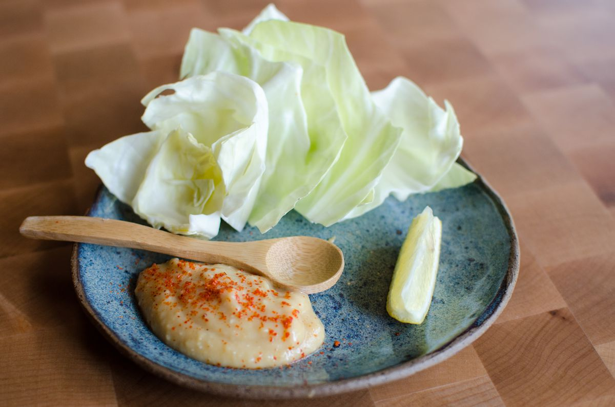 cabbage with sweet pea miso and lemon at Whaling in Oklahoma
