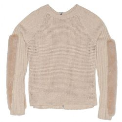 """<b>Reed Krakoff</b> Baseball Sweater with Mink, <a href=""""http://www.reedkrakoff.com/online/handbags/USIndexView?storeId=16001&catalogId=16500&langId=-1#view=product-detail&styleNumber=83248&colorCode=oat"""">$2,250</a>"""