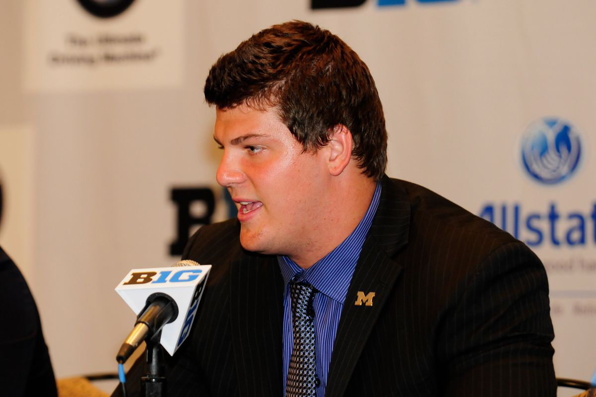 July 26, 2012; Chicago, IL, USA; Michigan Wolverines offensive tackle Taylor Lewan talks to reporters during the Big Ten media day at the McCormick Place Convention Center. Mandatory Credit: Reid Compton-US PRESSWIRE