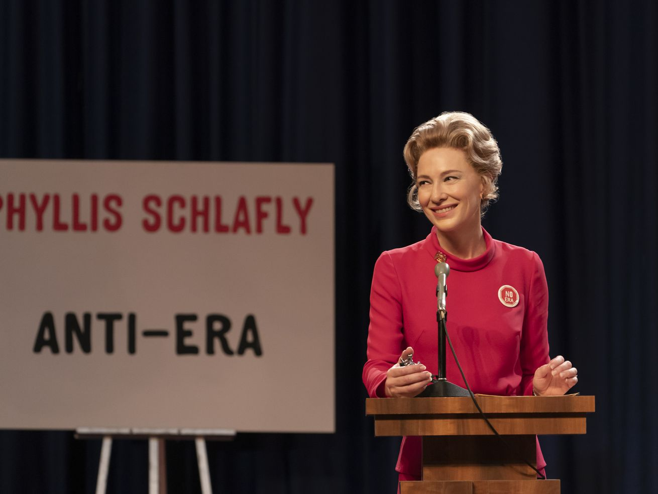 Cate Blanchett as Phyllis Schlafly presents an anti-ERA take at a debate with Betty Friedan.