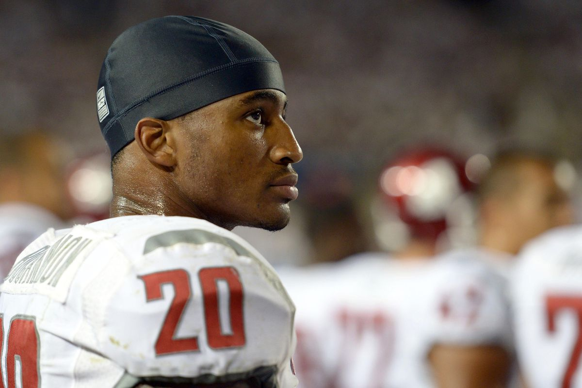 Aug 30, 2012; Provo, UT, USA; Washington State Cougars safety Deone Bucannon (20) on the sidelines during the third quarter against the Brigham Young Cougars at Lavell Edwards Stadium. Mandatory Credit: Jake Roth-US PRESSWIRE