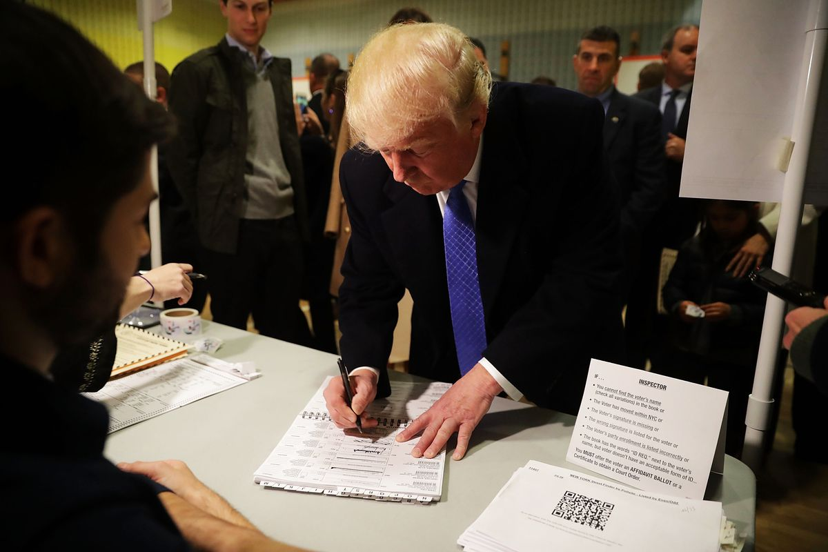 Republican presidential nominee Donald Trump casts his vote on Election Day at PS 59 November 8, 2016 in New York City.